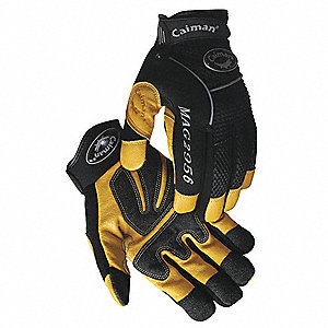 Leather Mechanics Gloves, Grain Pigskin Leather Palm Material, Black/Gold, L, PR 1