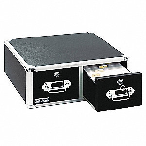 Card File Box w/Hinged Lid,Black