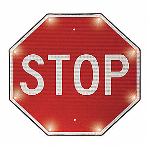 Stop LED Indoor Stop Sign, White LED Color, Power Requirements: 110V