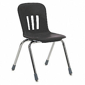 Stack Chair,Plastic,Black,Grade 3 to 4