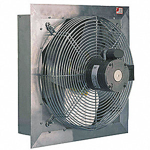 "20"" Shutter Mount Exhaust Fan, Voltage 115/230V, Motor HP 1/3, Variable Speed Number of Speeds"