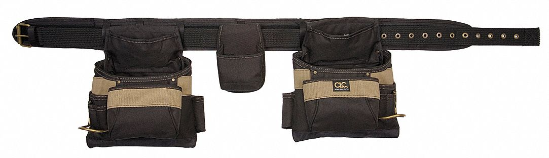 Clc Black Khaki Carpenter S Combo Tool Belt Polyester 29
