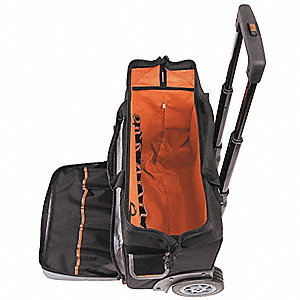 Canvas Rolling Tool Bag, General Purpose, Number of Pockets: 24, Black