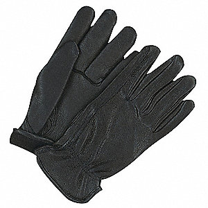Leather Gloves,Deerskin,L,Black,PR