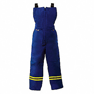 "Royal Blue Bib Overalls, 88% Cotton, 12% Nylon, Fits Waist Size: 52 to 54"", 32-3/4"" Inseam, 40.8 cal"