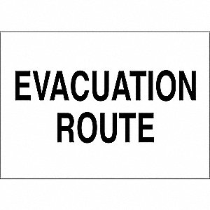"Text Evacuation Route, B-555 Aluminum Safety Sign, Height 7"", Width 10"""