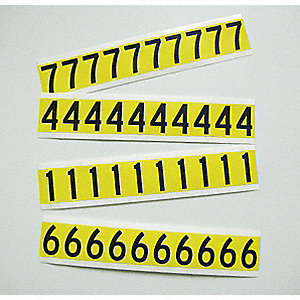 "Carded Number Kit, 0 Thru 9, Black on Yellow Background, 1"" Character Height, 1 EA"