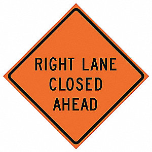 36in RIGHT LANE CLOSED AHEAD Vinyl
