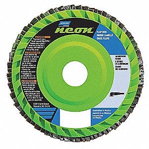 "4-1/2"" Flap Disc, Type 27, Aluminum Oxide, 80 Grit, 7/8"" Mounting Size, Neon"