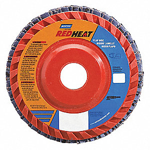 "4-1/2"" Flap Disc, Type 27, Ceramic, 120 Grit, 7/8"" Mounting Size, Redheat"