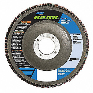 "4-1/2"" Flap Disc, Type 29, Aluminum Oxide, 120 Grit, 7/8"" Mounting Size, Neon"