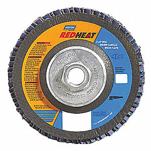 "4-1/2"" Flap Disc, Type 29, Ceramic, 60 Grit, 5/8-11 Mounting Size, Redheat"