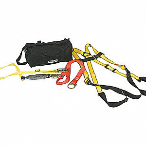 Yellow, Universal Size Fall Protection Kit, 400 lb. Weight Capacity, Tongue Leg Strap Buckles