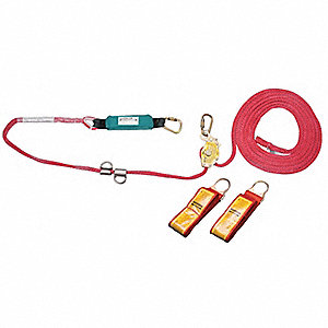 Horizontal Lifeline Kit, 200 ft. Length, Temporary Installation, 1 or 2 Workers Per System