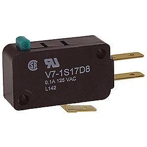 Miniature Snap Action Switch, SPDT Contact Form, 125VAC Voltage Rating, 0.1A Current Rating