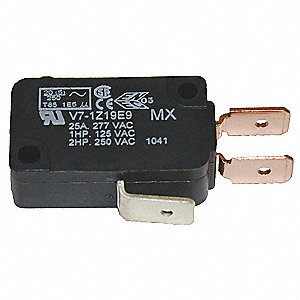 Miniature Snap Action Switch, SPDT Contact Form, 250VAC Voltage Rating, 25A Current Rating
