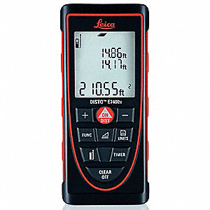 "Indoor/Outdoor Laser Distance Meter, ±1/16"" Accuracy, Up to 395 ft. Range"