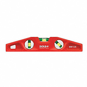 "Magnetic, Alloy 6063 Aluminum Torpedo Level, 10"" Length, Top Read: Yes"
