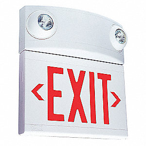Exit Sign w/Emergency Lights,12W,Red