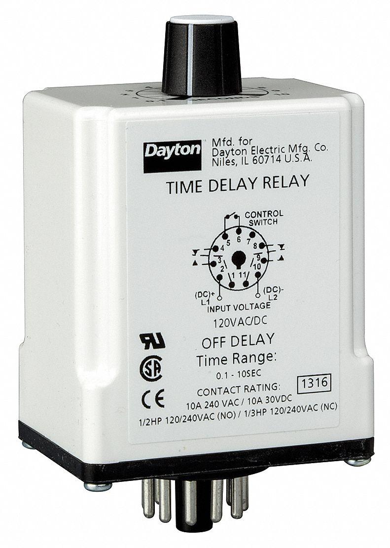 Dayton Single Function Timing Relay  12vdc  10a   240v  11
