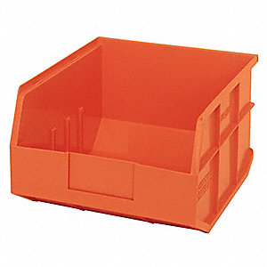 "Shelf Bin, Orange, 12"" Outside Length, 11"" Outside Width, 7"" Outside Height"