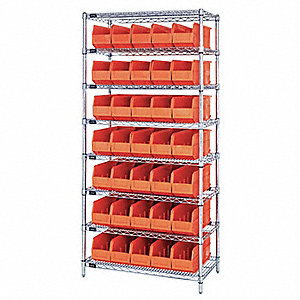 Bin Shelving, 6400 lb. Load Capacity, Total Number of Bins 35