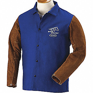 Royal Blue/Brown 100% 9 oz. Flame-Resistant Treated Cotton Body and Cowhide Sleeves Welding Jacket,