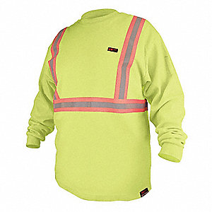 "Hi-Vis Lime Flame-Resistant Crewneck Shirt, Size: XL, Fits Chest Size: 50"" to 52"", 10 cal./cm2 ATPV"