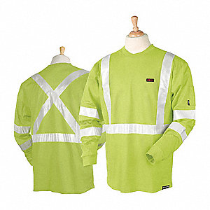"Hi-Vis Lime Flame-Resistant Crewneck Shirt, Size: 3XL, Fits Chest Size: 56 to 58"", 10 cal./cm2 ATPV"