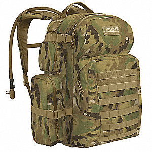"MultiCam Hydration Pack, 100 oz./3L Capacity, Depth 3"", Length 17-1/4"", Width 7"""