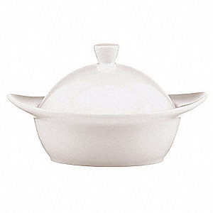 Covered Bowl,White,6-1/2 In,8 oz.,PK12