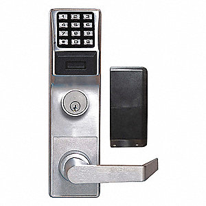 Electronic Keyless Exit Trim Lock, Entry with Key Override, Satin Chrome, Series ETPDN