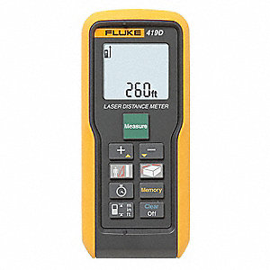 "Indoor/Outdoor Laser Distance Meter, ±3/32"" Accuracy, Up To 260 ft. Range"