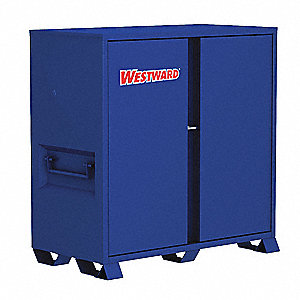 "Blue Jobsite Storage Cabinet, Width: 60-1/8"", Depth: 30-1/4"", Height: 60-3/4"", Storage Capacity: 63."