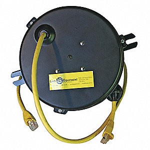 Yellow Retractable Data Cord Reel, Cord Ending: CAT, 20 ft. Cord Length