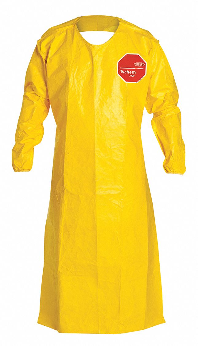 dupont chemical resistant sleeve apron  yellow  52 u0026quot  length