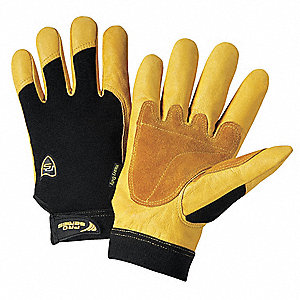 Leather Palm Gloves,Cowhide,Gold/Blk,PR