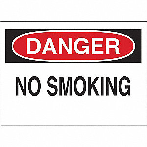 Danger No Smoking Sign,10 x 14In,ENG