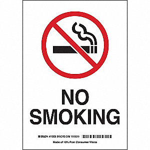 No Smoking Sign,10 x 7In,R and BK/WHT