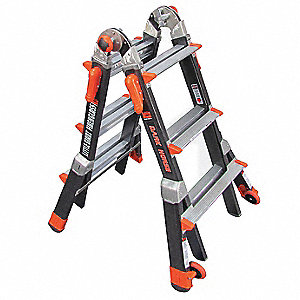 Fiberglass Multipurpose Ladder, 7 to 11 ft. Extended Ladder Height, 375 lb. Load Capacity
