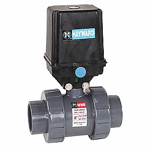 "PVC Electronic Actuated Ball Valve, 1"" Pipe Size, 120VAC Voltage"