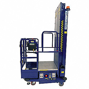 "Personnel Lift, Push-Around Drive, Battery Power Source, 216"" Overall Height, 650 lb. Load Capacity"