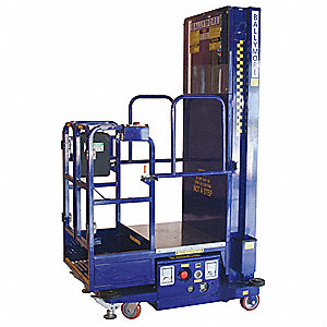 "Personnel Lift, Push-Around Drive, Battery Power Source, 252"" Overall Height, 650 lb. Load Capacity"