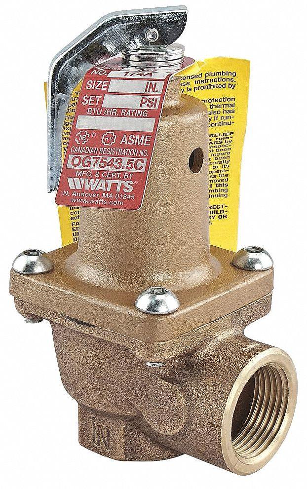 WATTS Bronze Safety Relief Valve, FNPT Inlet Type, FNPT Outlet Type   Relief Valves   26X180|3/4 174A 075