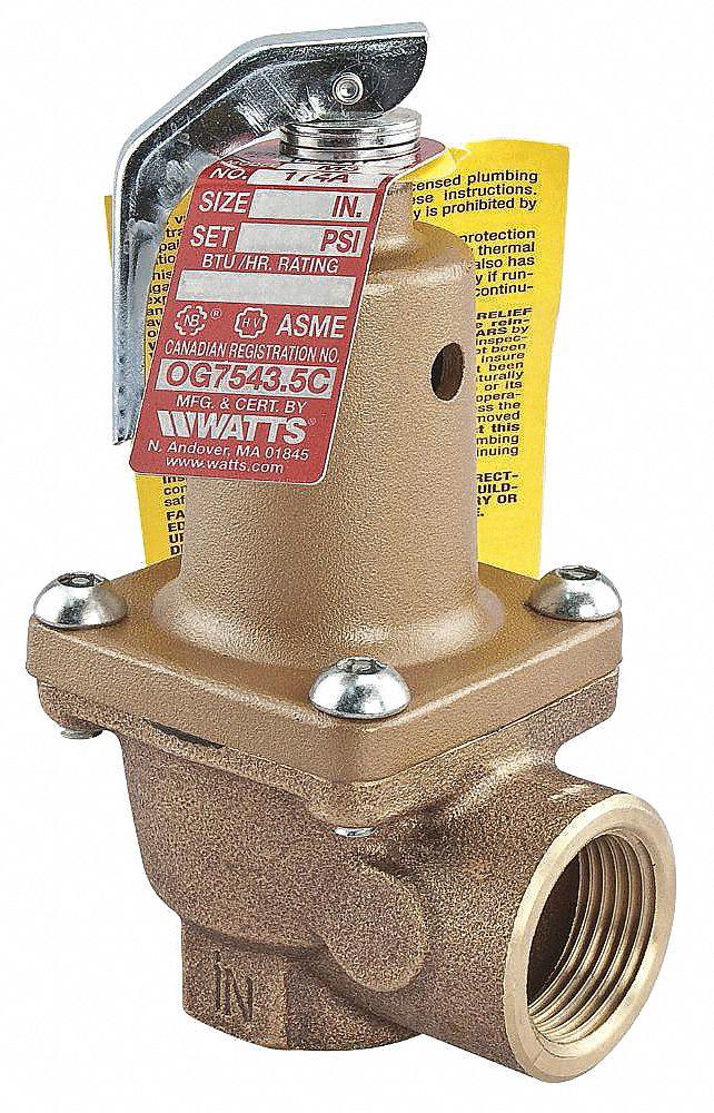 WATTS Bronze Safety Relief Valve, FNPT Inlet Type, FNPT Outlet Type   Relief Valves   26X194|2 174A 125