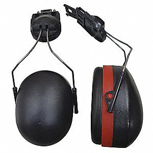 Black/Red Cap-Mounted Ear Muff, Noise Reduction Rating NRR: 18dB, Dielectric: No