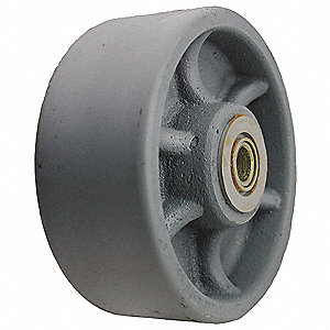"5'' Caster Wheel, 1300 lb. Load Rating, Wheel Width 2"", Cast Iron, Fits Axle 1/2"""