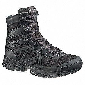 "6""H Men's Tactical Boots, Plain Toe Type, Leather / Mesh Upper Material, Black, Size 11-1/2"