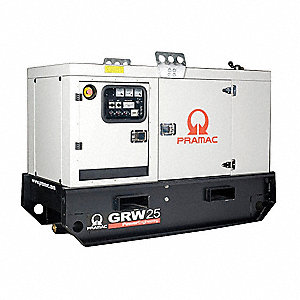 Towable Standby Generator,19.4kW,53 gal.