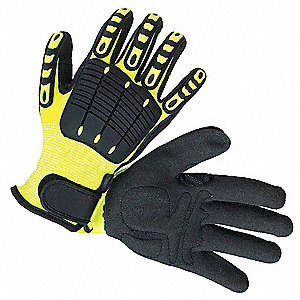 Back Tracker Gloves, High-Visibility Nylon with Antislip Coating Palm Material, High Visibility Gree